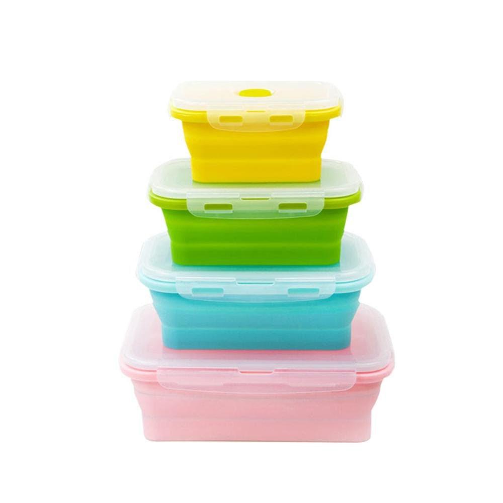 Foonee Lunch Box Meal Prep Containers Collapsible Silicone Food Storage Containers, BPA Free, Microwave, Dishwasher and Freezer Safe