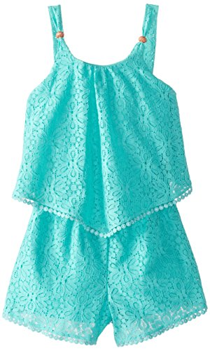 My Michelle Big Girls' All Over Lace Romper with Popover and Button Detail, Mint, Medium