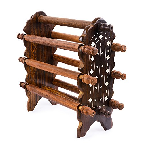 Rusticity Wood Jewelry Holder Tower Decorative with 6 rods | Handmade | (14x5 in) (Indian Administrative Service compare prices)