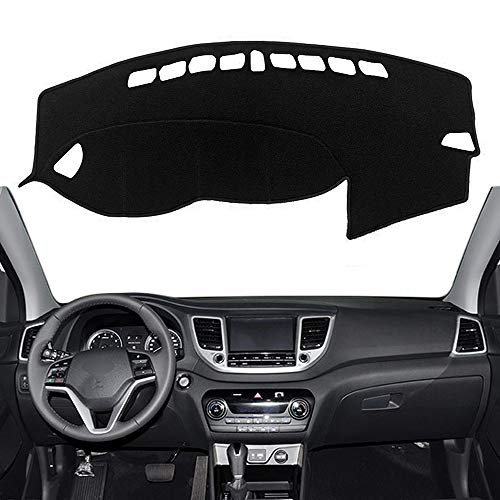 Autoxrun Black Carpet Dashboard Cover Center Console Cover Dash Mat Protector Sunshield Cover Fits 2016-2019 Hyundai ()