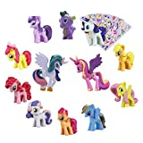 Pony Dolls, Pony Toys Figurines Playset,12pcs Kids Cupcake Cake Toppers + 6pcs Pony Stickers