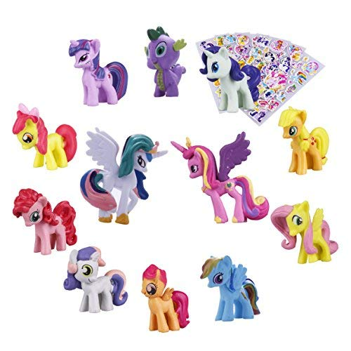 Pony Dolls, Pony Toys Figurines Playset,12pcs Kids Cupcake Cake Toppers + 6pcs Pony Stickers by Calla lily flower
