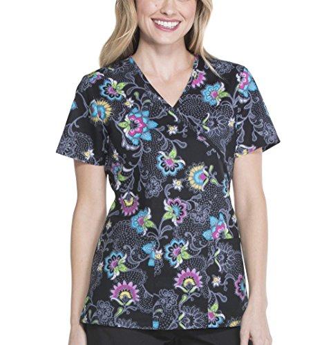 ScrubStar Embrace Lace Women's Mock Wrap Printed Scrub Top (Medium)