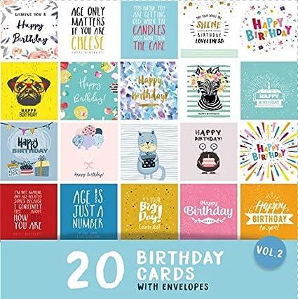 20 tarjetas de cumpleaños Vol 2 | Tarjetas cuadradas de 15 ...