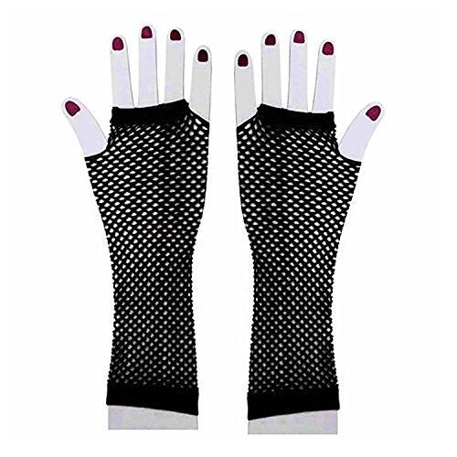 Auranso 80s Disco Dance Party Costume Women Long Fishnet Mesh Fingerless Gloves