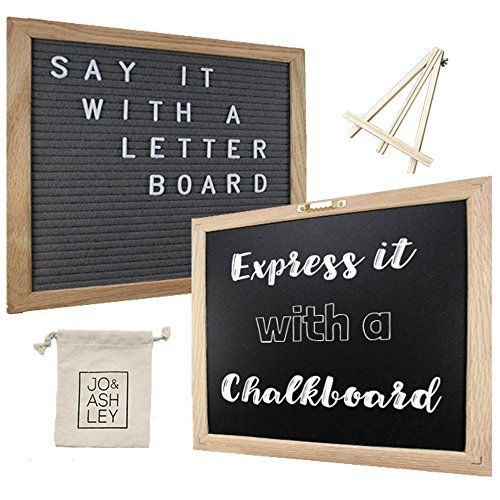 Felt Letter Board and Chalkboard - 376 Letters, Numbers & Symbols, 10x10 Oak Frame, Changeable Grey Felt Letter Board, Chalkboard, Canvas Bag, Wood Stand, Chalk Marker, and Cloth Wipe - By Jo & Ashley