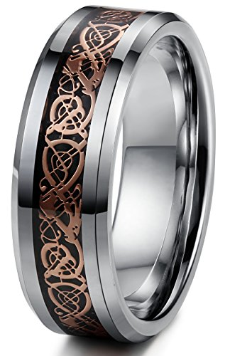 Tungary 8mm Mens Womens Tungsten Rings Wedding Engagement Band Dragon Rose-gold Beveled Edge Size 10