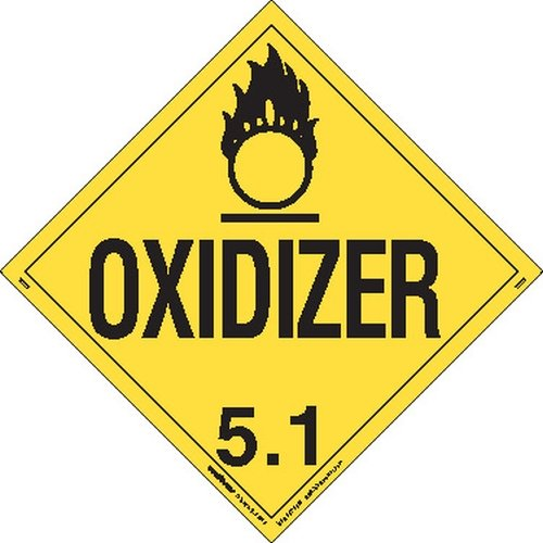 Labelmaster Z-EZ6 Oxidizer Hazmat Placard, Worded, E-Z Removable Vinyl (Pack of 25)