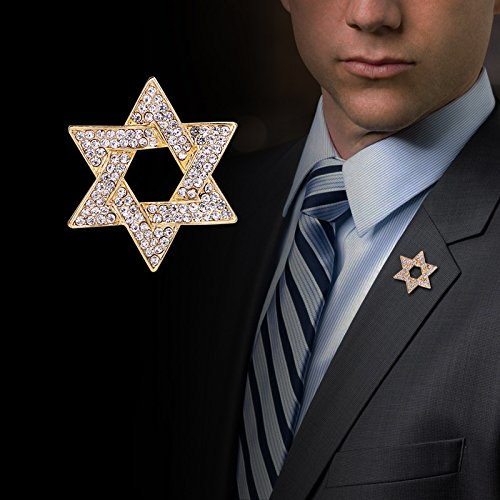 Men brooch full of diamond brooch up retro male hexagonal hexagram Star of David badge corsage female star