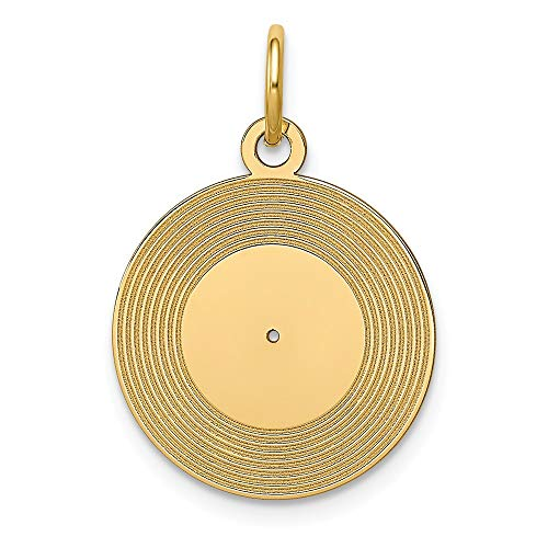 - 14k Yellow Gold Record Album Pendant Charm Necklace Musical Fine Jewelry Gifts For Women For Her