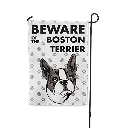 Brownrio Beware of BOSTON TERRIER DOG Yard Patio House Banner Garden Flag w/Iron Stake Flag Only 10 1/2 inches x 16 inches ()