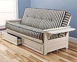 Philadelphia White Futon Frame w/ Trays w/ 8 Inch Innerspring Mattress Premium w/ Drawer Set Sofa Bed Full Size (Cozumel Navy)