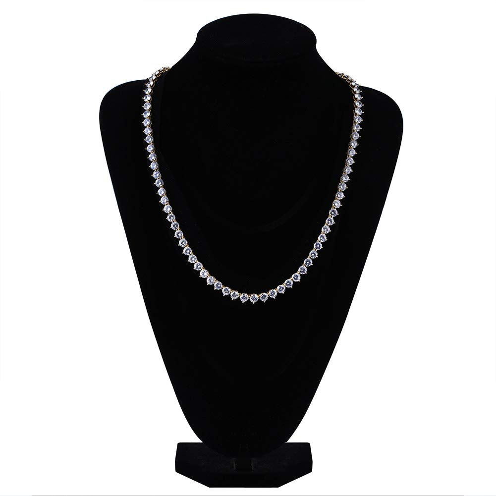 JINAO 18k Gold Plated 1 Row 4//6MM Lab Simulated Diamond Iced Out Mens Hiphop 3 Prong Tennis Chain Necklace Silver-6MM, 18