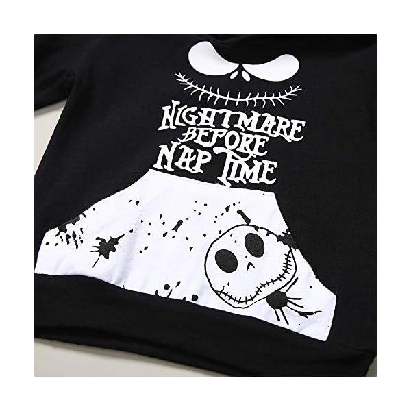 FUTERLY Neonato e Bambino Felpe con Cappuccio Manica Lunghe Abbigliamento Nightmare Stampa Top Felpa + Cranio Nero… 4