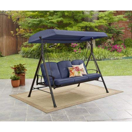 Mainstay Durable Rust-Resistant Powder-Coated Steel Frame 3-Person Canopy Porch Swing Bed, (Blue) + Free Cleaning Dust Cloth - Seat Porch Swing