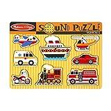Melissa & Doug Vehicles Sound Puzzle (Wooden Peg Puzzle with Sound Effects, 8 Pieces)
