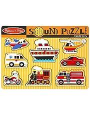 Melissa & Doug Voertuigen Geluid Puzzel | Puzzels | Hout | 2+ | Cadeau voor Jongen of Meisje