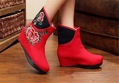 boots Boots Chinese singles women's Elevator Red wind Tall national Shoes Embroidered shoes Ifqwq1A