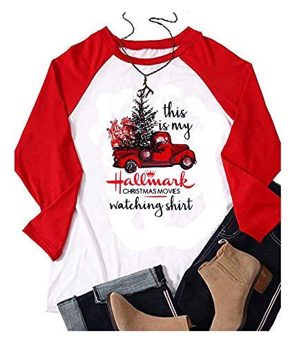 This is My Hallmark Christmas Movie Watching Shirt Women Long Sleeve Christmas Graphic Raglan Baseball Tee Shirts Top (Medium, White) Christmas Long Sleeve Shirt