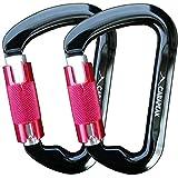 CARAPEAK 30kN Auto-Locking D Shaped Twist Lock Climbing 2 4 6 Pack Set Carabiner, Aluminum Rock Self Locking Clip Black