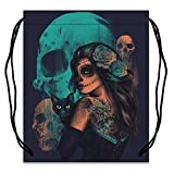 Day of the Dead Sugar Skull Print Polyester Fabric Basketball Drawstring Bags Drawstring Tote For Sale