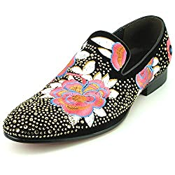 Rhinestones Embroidered Flower Slip on