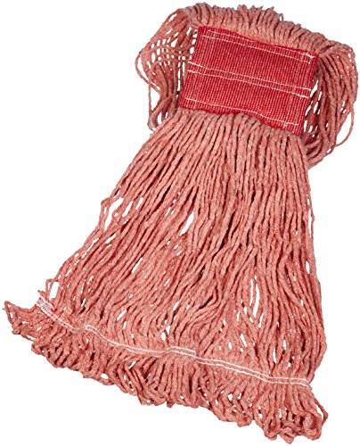 AmazonBasics Loop-End Synthetic Mop Head, 5-Inch Headband, Large, Red - 6-Pack