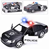 Liberty Imports Friction Powered Police Car 1:16 Kids Plastic Toy Rescue Emergency Cop Vehicle with Lights and Siren Sound Effects