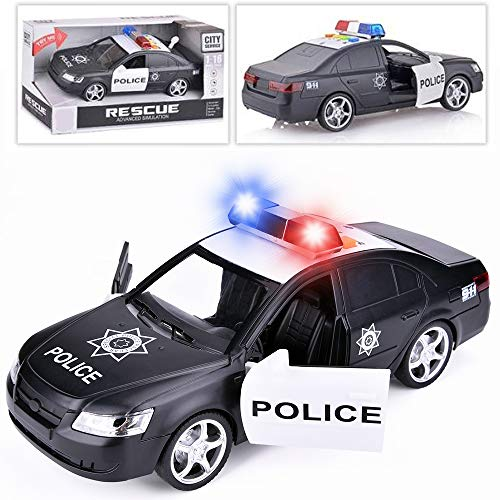 Liberty Imports Friction Powered Police Car 1:16 Kids Plastic Toy Rescue Emergency Cop Vehicle with Lights and Siren Sound Effects ()