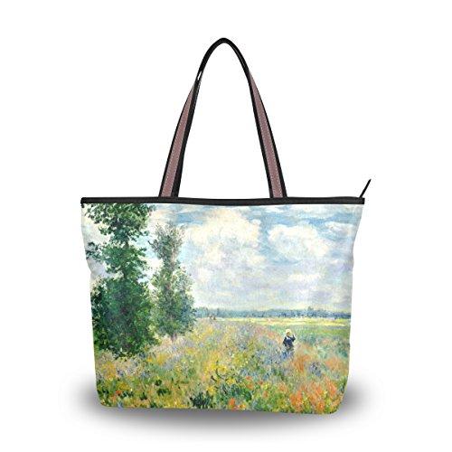 Tote Bag Monet Poppy Field Argenteuil Shoulder Handbag Beach Bags With Zipper