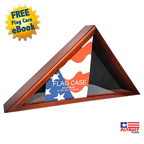 Gorgeous Wood Flag Display Case By Patriot Flags – 15in x 22in Hand Crafted Gallery Quality - Cherry Finish, Reinforced Clips, Glass Cover – FREE Flag Care eBook