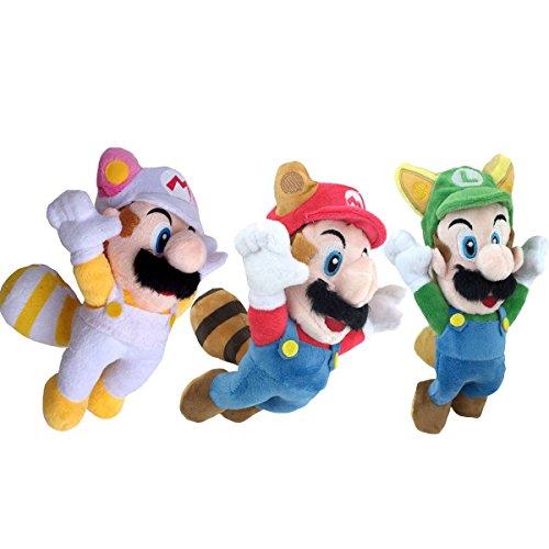 New Super Mario Bros. 2 Raccoon Mario White Raccoon Mario Fox Luigi Plush Toy Soft Stuffed Animal 8