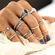C-Pioneer 12 pcs Vintage Silver Plated Joint Knuckle Ring Retro Midi Finger Knuckle Rings Set