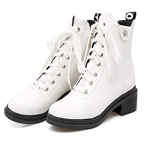 MEIbax Zapatos de Punta Redonda para Mujer Antideslizantes Botas de tacón Alto cuadradas atadas cuadradas Cuero Impermeables Zapatos Nieve Piel Forradas ...