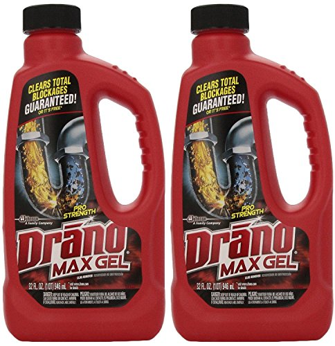 Drano 701722747197 00117-2PK Max Clog Remover (Pack of 2), 32 oz, 2Pack (32 Ounce), 64 Fl Oz (Gel Max)