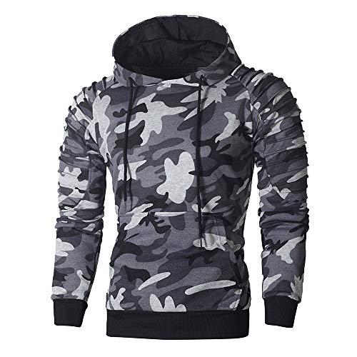 Boomboom Men Shirts, Men Camouflage Autumn Hoodie Hooded Sweatshirt Blouse Dark Gray M - Make Camo Suit