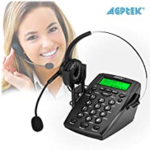 AGPtek Noise Cancelling Call Center Dial Pad Headset Telephone System with Tone Dial Key Pad and REDIAL, Desk Telephone Handsfree Headphone Headset for Business Home Office (LCD Display,Mute Function)