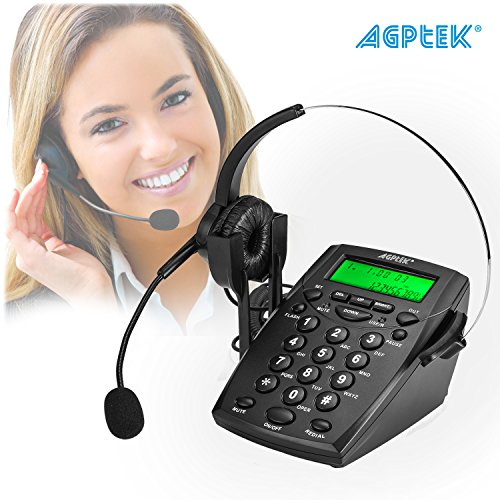 AGPtek® Noise Cancelling Call Center Dial Pad Headset Telephone System with Tone Dial Key Pad & REDIAL, Business Home Office Desk Telephone Handsfree Business Headphone Headset Volume Control Speaker - LCD Display, Flash & Mute Function, Voice Recorder Port Available