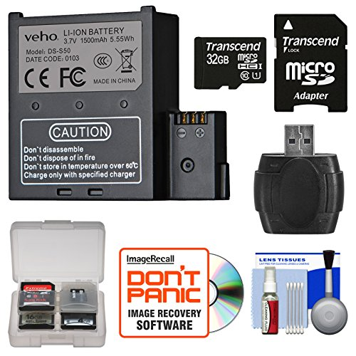 veho-vcc-a034-sb-1500mah-rechargeable-battery-for-muvi-k-k1-k2-action-cameras-with-32gb-card-reader-