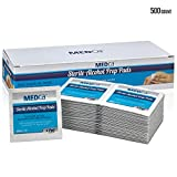 Alcohol Wipes - Sterile Alcohol Prep Pads, Antiseptic Sanitizer Swab Pads, 2-Ply Cotton 70% Isopropyl Individually Wrapped Box of 500