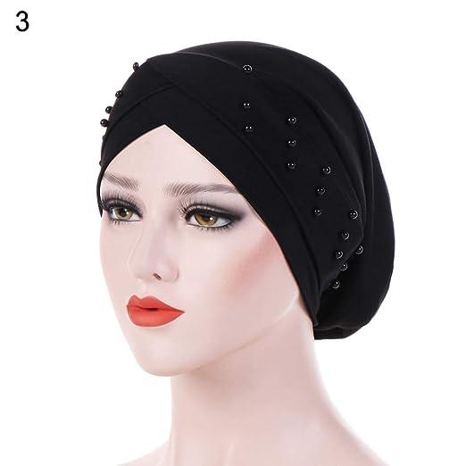 Women Beads Elastic Turban Hat Muslim Cancer Chemo Cap Hijab Head Wrap - Black