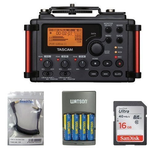 Tascam DR-60DmkII 4-Channel Portable Recorder for DSLR KIT + 16GB SDHC Memory Card Ultra + BeachTek SC35 3.5mm Stereo Output Cable + Watson 4-Hour Rapid Charger with 4 AA NiMH Rechargeable Batteries (2300mAh)