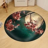 Gzhihine Custom round floor mat Antique and Vintage Style Photo - Beautiful Pink Cherry Blossom