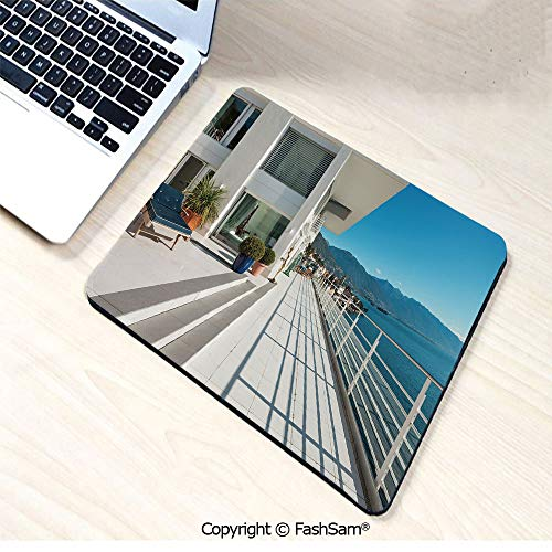 (Mouse Pads Penthouse Summer Home with Wide Patio Balcony Veranda with Sea Scenery for Home(W9.85xL11.8))
