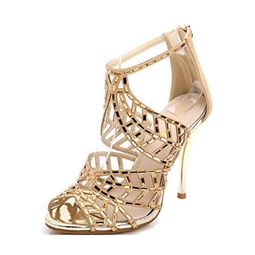 Feuilles Banquet High US5 Wedding Strass Sexy Golden Height Height UK4 8cm Heels Taille Chaussures Sandales 35 10cm Lady 225mm Couleur xtq8RwR