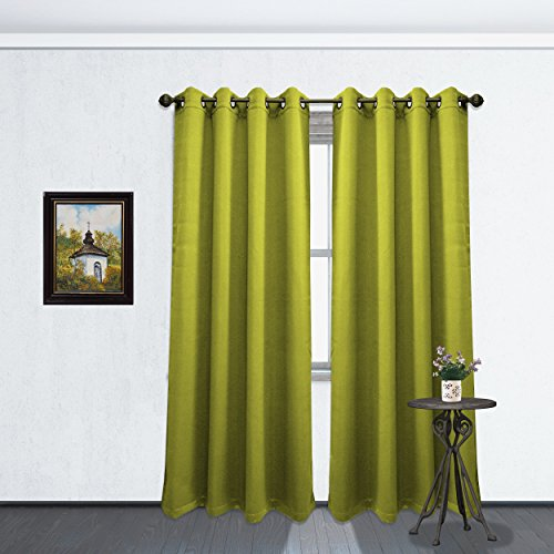 Kashi Home Solid Color Grommet Blackout Room Curtain Panel, Soft Thermal Insulated Room Darkening Window Drape, 54 x 84 Inch, Tessa Single Panel Lime