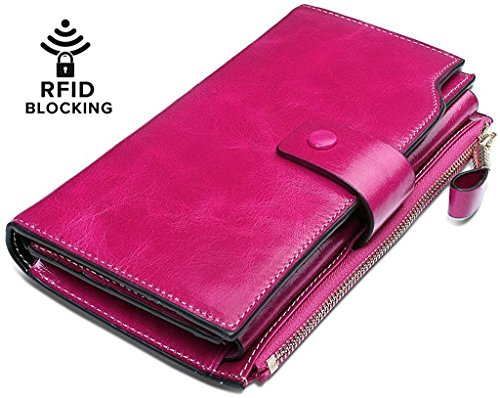 Pink Leather Checkbook Wallet - YALUXE Women's Wax Genuine Leather RFID Blocking Large Capacity Luxury Clutch Wallet Card Holder Organizer Ladies Purse Wallets for women brown Pink