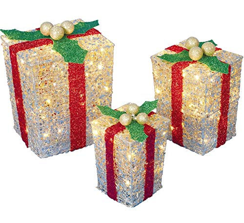 Outdoor Lighted Christmas Gift Boxes Lawn Decoration in US - 9