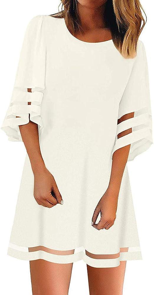 VEMOW Faldas Mujer Tops Blusa con Panel de Malla en el Cuello O de ...