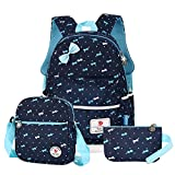 Vbiger 3 in 1 School Bag Waterproof Nylon Backpacks Lunch Bags Pencil Case (Dark Blue1)